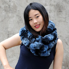 CX-S-172E High Quality Rex Rabbit Fur Women Winter Hand Knit Fur Scarf 2013