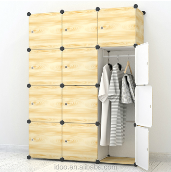 Diy 12 Cubes Wooden Color Wardrobe Cartoon Kids Wardrobe Design