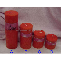 Red wax pillar candles for church, wedding, party, home, garden decoration