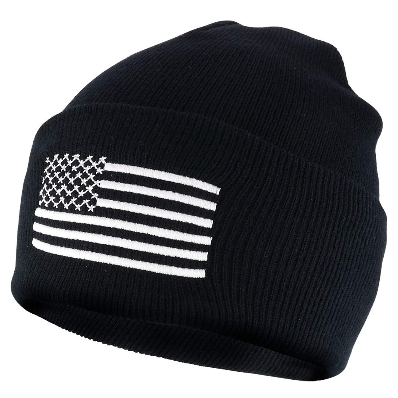 c9dbc5f157176c NY GOLDEN FASHION Women Men American Flag Cuffed Knit USA Flag Patriotic  Beanie With Pom Pom Winter Hat. 9.99. USA American Flag Embroidered Cuffed  Long ...