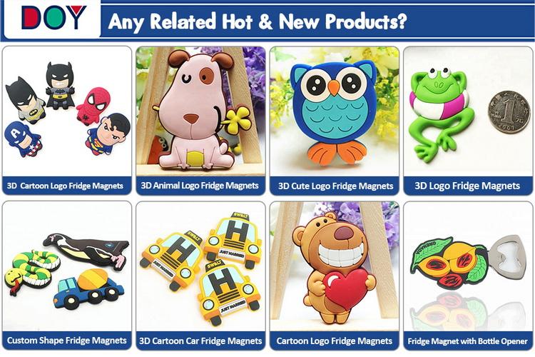 การออกแบบราคาถูกที่กำหนดเอง 3D อะนิเมะการ์ตูนโลโก้ยางพีวีซีนุ่มแม่เหล็กติดตู้เย็นสำหรับตกแต่งบ้านและของเล่น