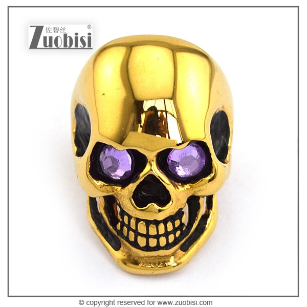 Green/Purple Zircon Eyes stainless steel Skull Ring in Exquisite golden plating for salesl r002010/r002011
