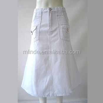 wholesale long denim skirts Casual White A-line style Denim jean skirts long