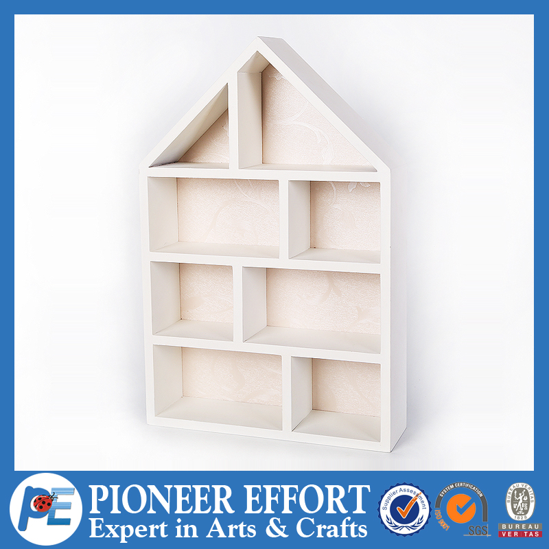 White decorative cardboard storage boxes wooden house shape box as office stationery and home decorations