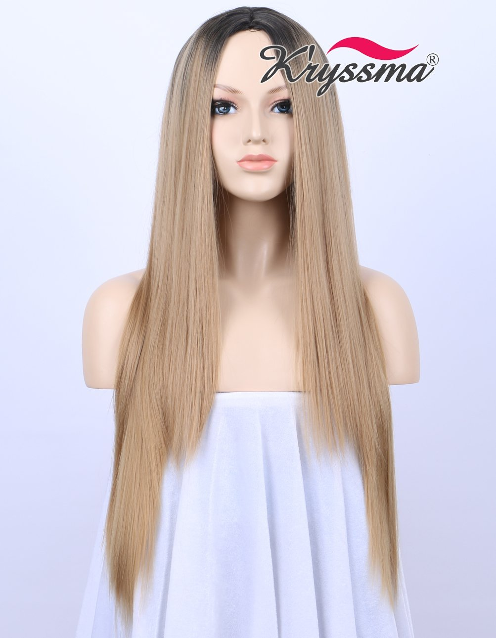 K ryssma Long Straight Honey Blonde Wig - Ombre 2 Tones Black Roots to  Blonde 6714c8d2c2