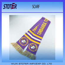 custom logo football match knitted scarf
