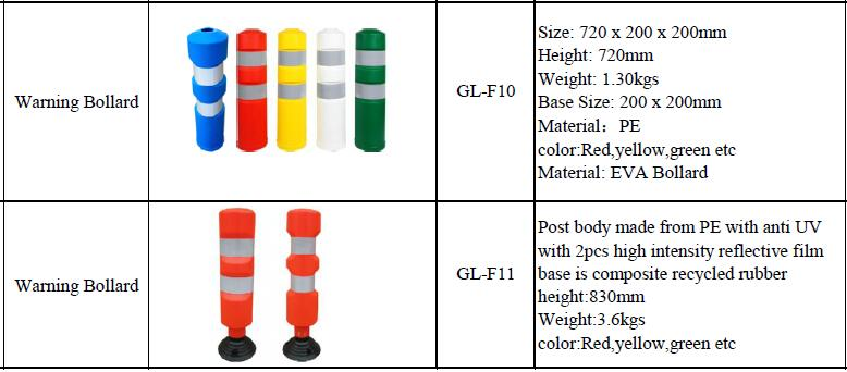Made in China Popular Multicolour Car Parking Flexible Collapsible Bollards