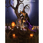 Halloween LED Sounded Canvas Prints The Old Witch In Enchanted Forest Sounded Wall Art For Halloween Decoration