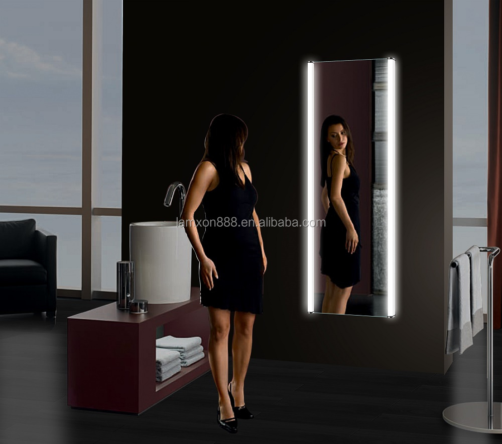 Wall Mirror With Lights full length wall mirror with light illuminated, full length wall