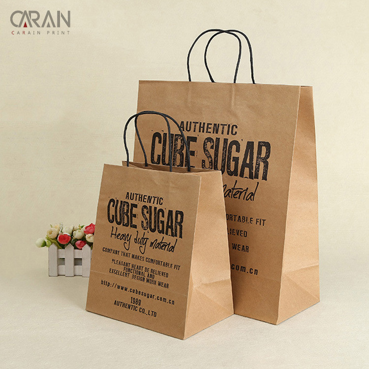 Kraft paper food grade takeaway fast food package paper bag with black handles