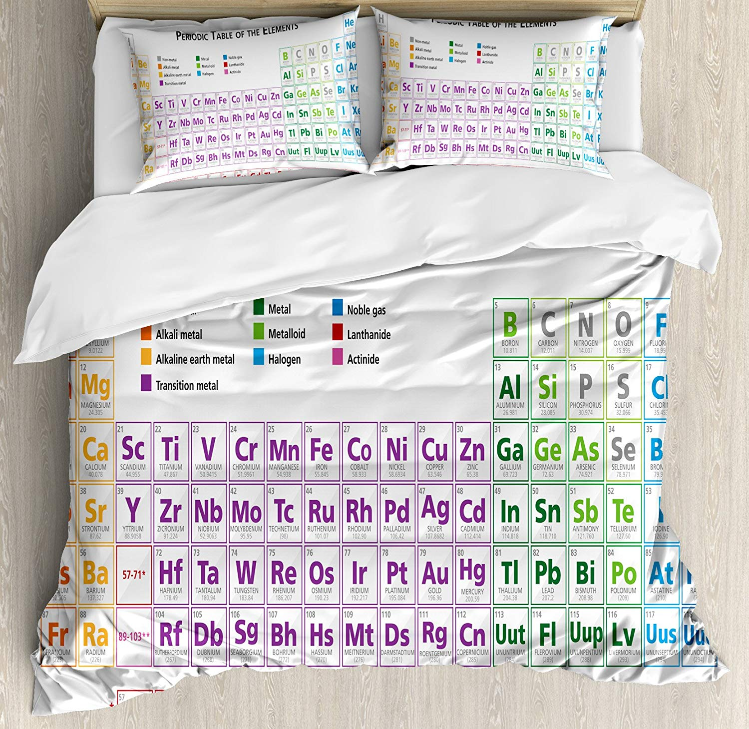 Ambesonne Science Duvet Cover Set King Size, Chemistry Primary School Students Geek Nerd Lessons Classes Smart Kids Art Print, Decorative 3 Piece Bedding Set with 2 Pillow Shams, Multicolor