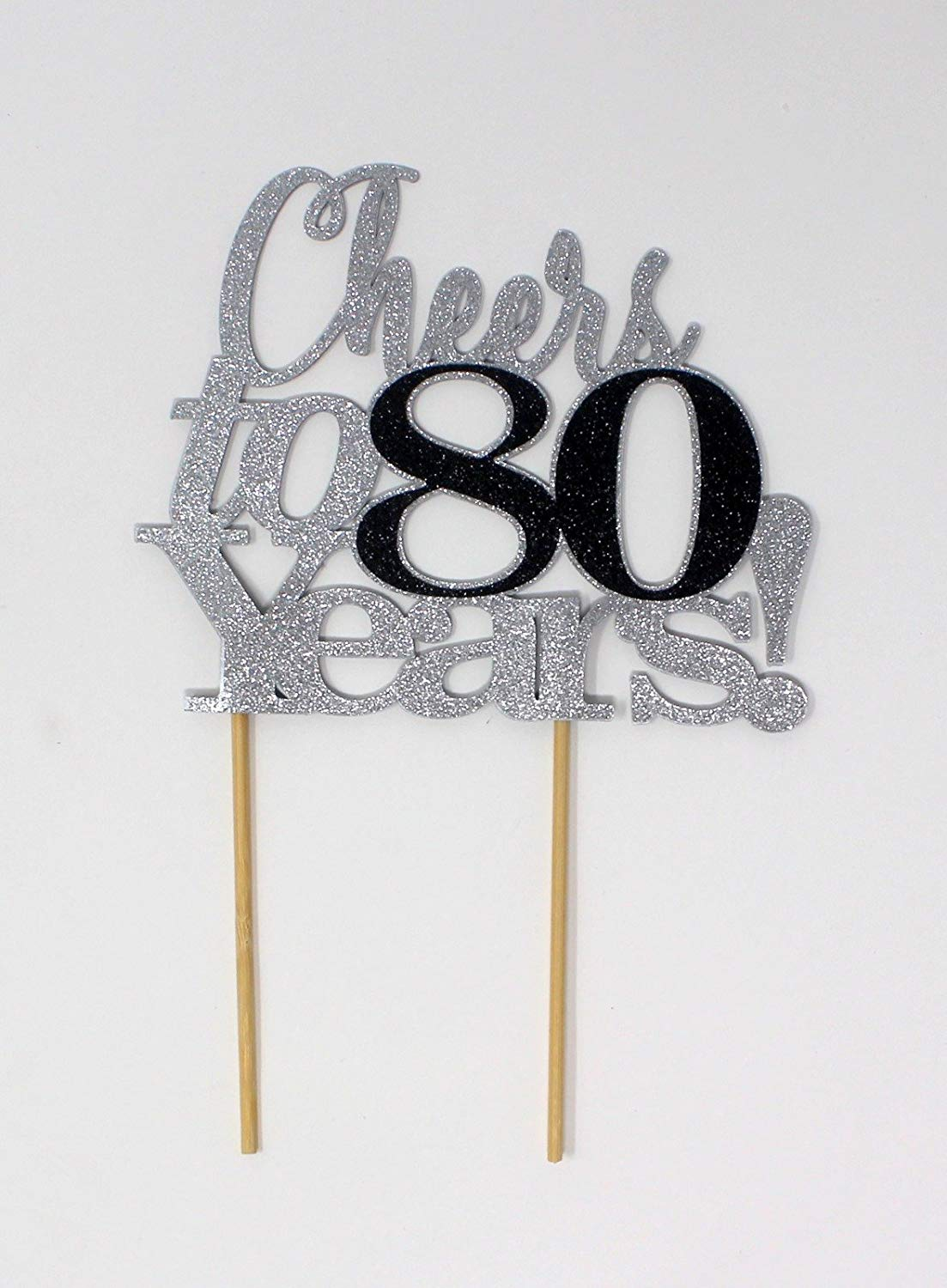 All About Details Cheers to 80 Years! Cake Topper, 1pc, Birthday, Anniversary, Party Decor, Glitter Topper (Silver & Black)