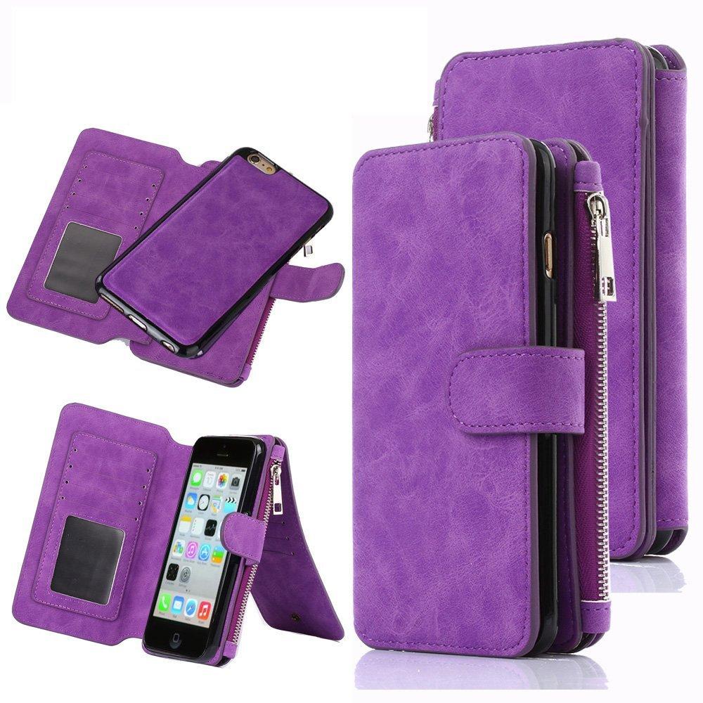premium selection 694aa e949b Buy iPhone 5C Case, CaseUp 12 Card Slot Series - [Zipper Cash ...