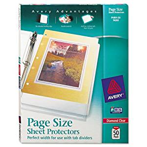 Averyamp;reg; - Top-Load Poly 3-Hole Punched Sheet Protectors, Ltr, Diamond Clear, 50/Box - Sold As 1 Box - Pre-punched holes align with 3-hole inserts so sheet protectors won't cover divider tabs.