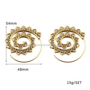Wholesale Antique Gold Plated Exaggeration Jhumka Style Spiral Rotating Earring