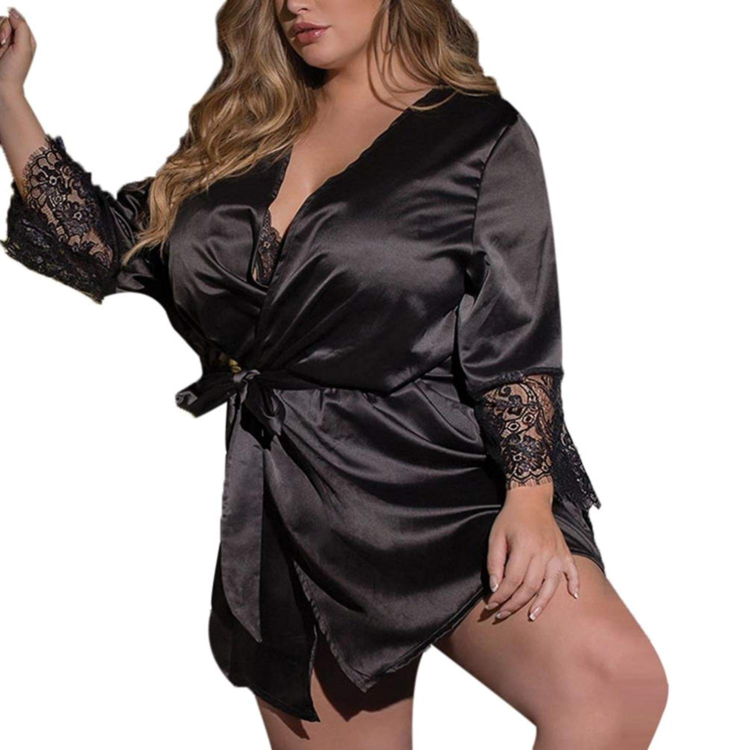 c3f05bf0f1 Get Quotations · Womens Sexy Silk Kimono Dressing Gown Lingerie