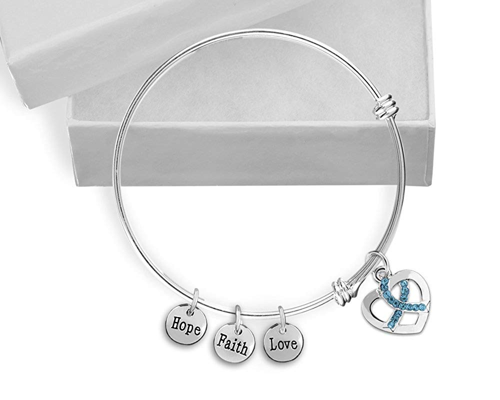 Ovarian Cancer Awareness Teal Ribbon Retractable Charm Bracelet with Gift Box (1 Bracelet - Retail)
