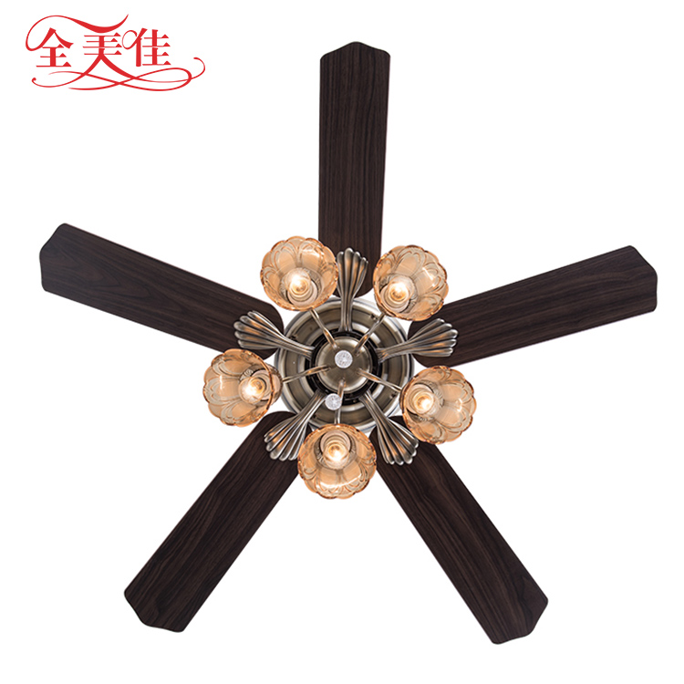 2018 classic european style design restaurant pull rope remote control ceiling fan lights with lamp