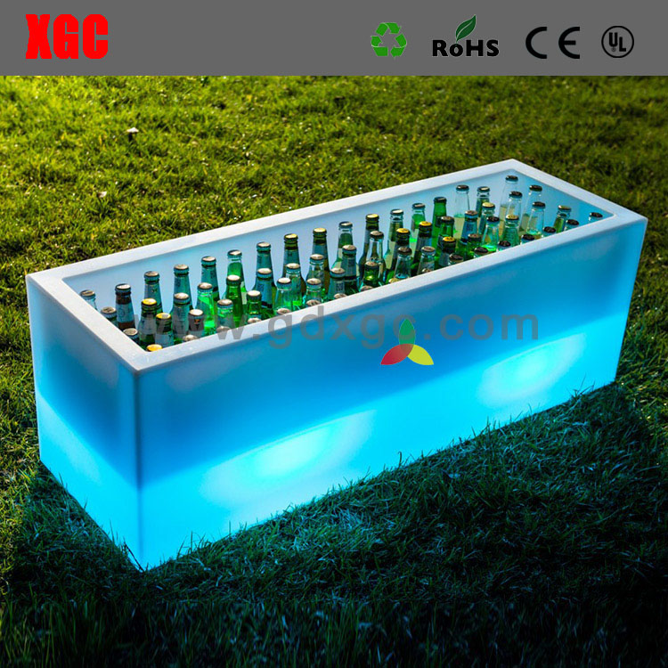 120 cm square wine ice bucket for bar Plastic illuminated lighting back bar cube for party
