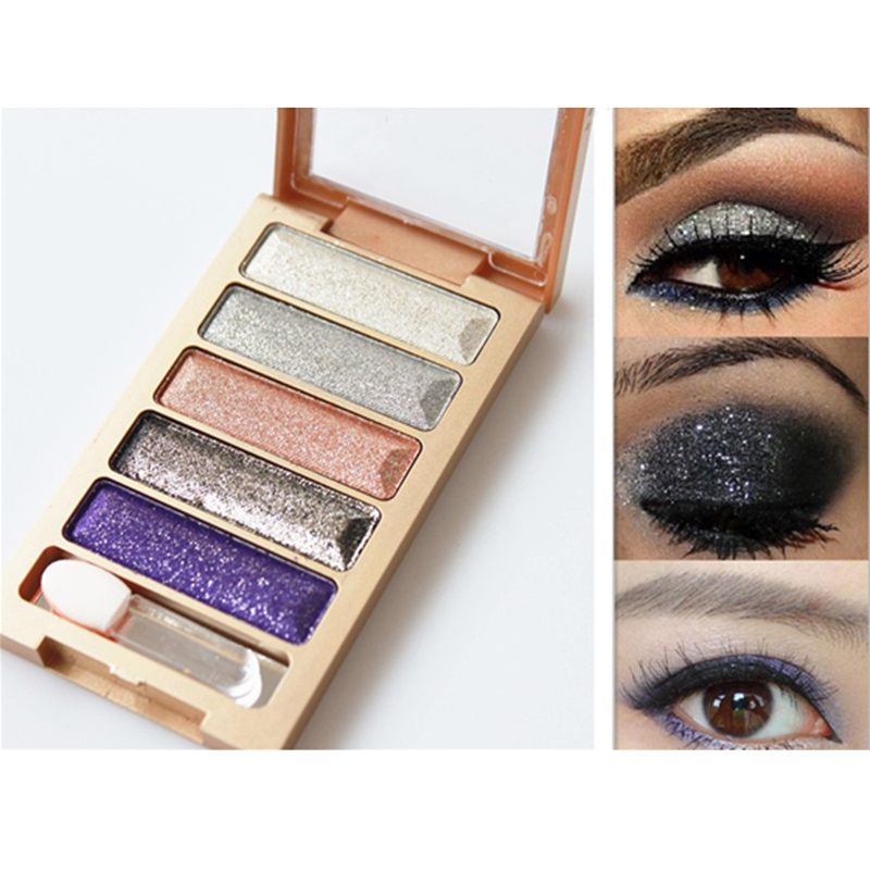 2015 new brand 5 Color Glitter Eyeshadow Makeup Eye Shadow Palette Super Flash Diamond Eyeshadow High
