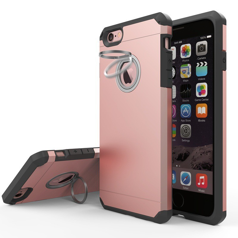 Premium anti shock hybird defender case for iphone 7 with built in ring kickstand