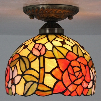 Tiffany style 8inch ceiling lamp for home or gift made from stained glass by hand