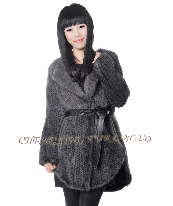 CX-G-A-214A Skirt Style Hand Knitted Women Winter Fur Coat Genuine Mink Fur Coat