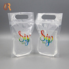 Stand Up Spout Pouch Bag Drink Pouches Bags Customized Design Plastic Clear Ziplock Stand Up 1 Litre Liquid Drink Spout Pouch Bag With Straw