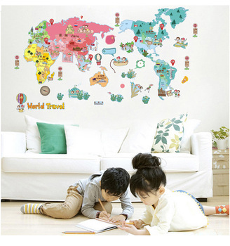 Wall Sticker World Map.Wall Sticker Decor World Map For Kids Education Toys Buy Wall