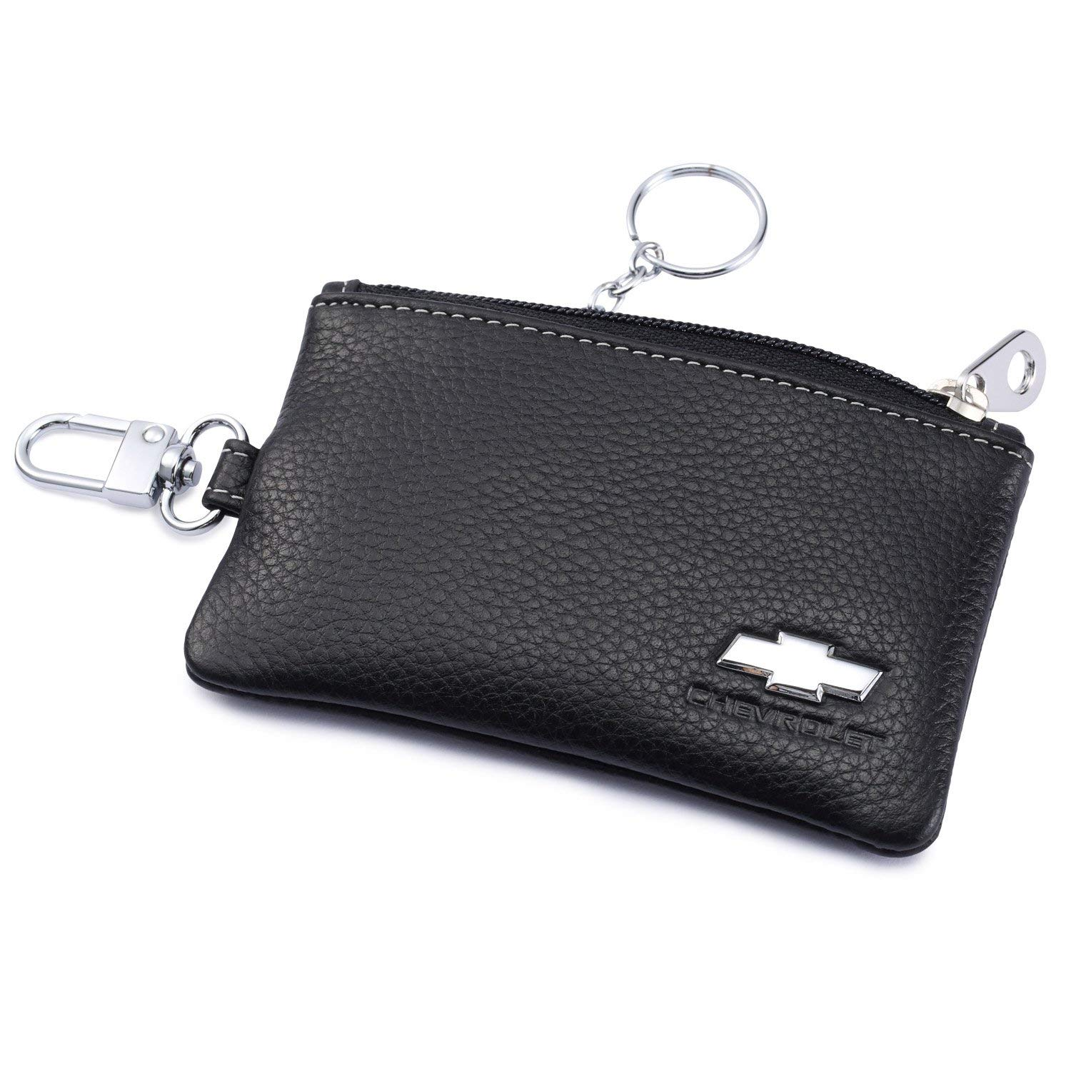Chevrolet Car Key Holder Remote Cover Fob with 1 Metal Keychain - Genuine Leather