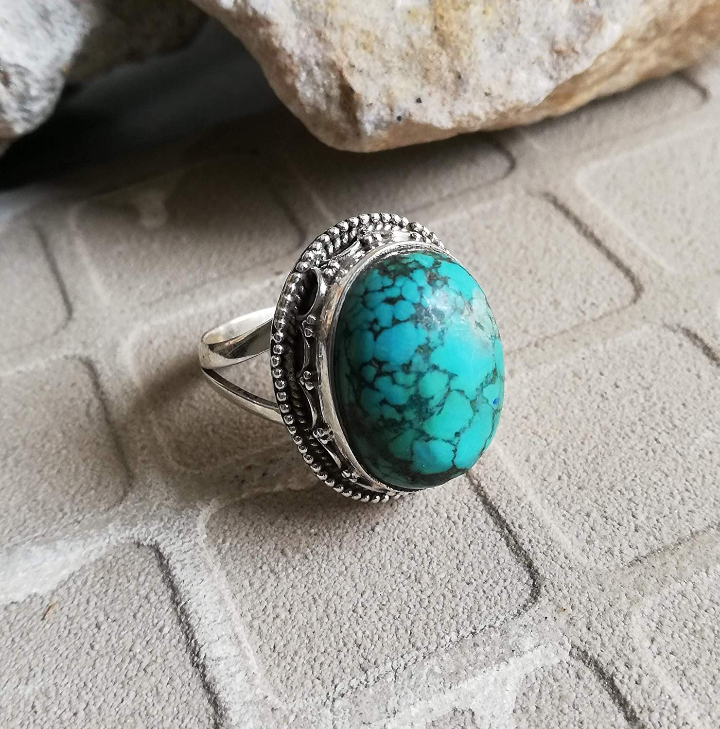 Turquoise Ring, 925 Sterling Silver, Sister Gift Jewelry, Delicate Ring, Extraordinary Ring, Latest Ring, Ultimate Ring, Ocean Charm, Boho Bride Ring, Fashionable Ring, Unique Piece, US All Size Ring