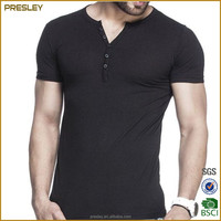 Factory oem black v-neck stylish mens t-shirt wholesale
