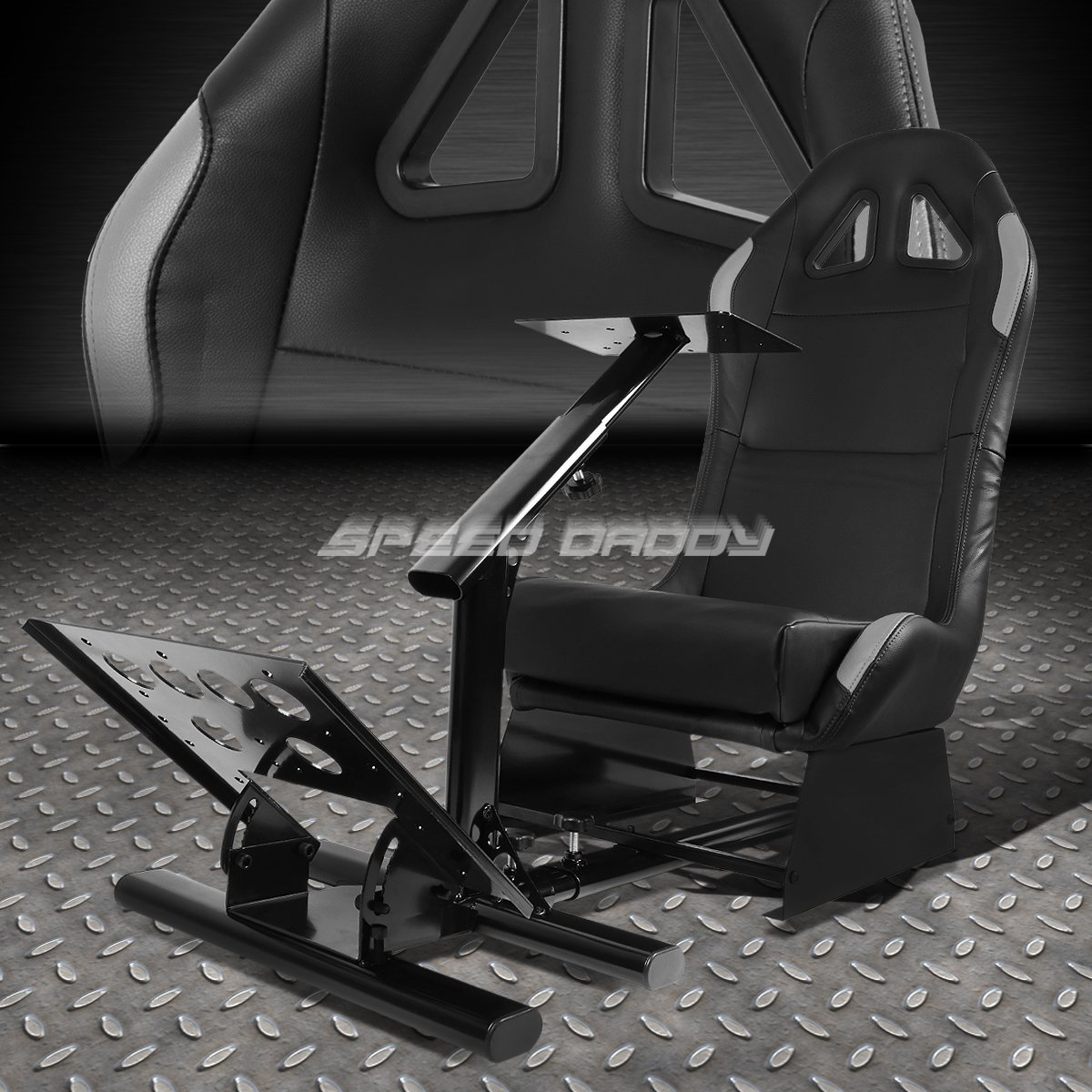 Racing Seat Driving Simulator Cockpit Adjustable Gaming Chair + Steering Wheel / Pedal / Gear Shifter Mount (Gray)