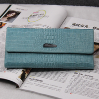 women ladies long trifold soft croco embossed calfskin cow hide clutch wallet purse with photo pocket
