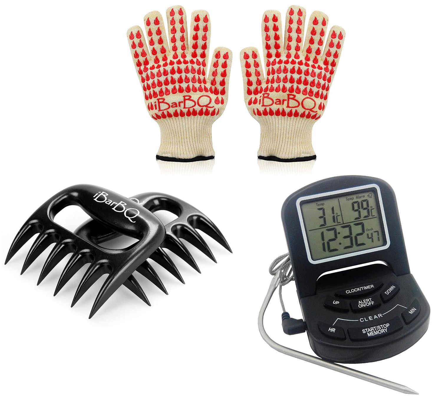 Best Barbecue Mates Ever!--- Digital BBQ Grill Food Probe Thermometer Cooking Thermometer/Timer with Alarm + Meat handling & Shredding Claws for Pulled Beef, Pork, Chicken, Turkey + SUPERIOR COMFORT Barbecue-Grille-Smoker-Oven Heat Protection Gloves Which Withstand 662 degrees F (350C)--- #1 Best