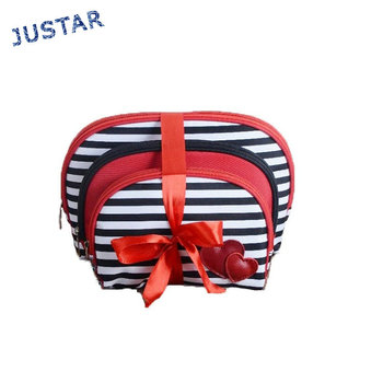 China Manufacturer Set of 3 Cheapest Price Woman Fashion Personalized Travel Portable Cosmetic Bag Set