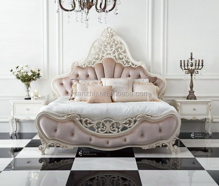 Luxury French And European Style Wooden Bed With Fabric