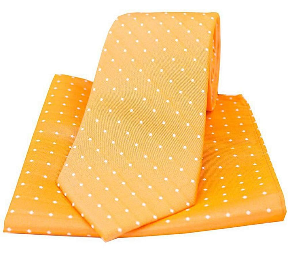 David Van Hagen Mens Pin Dot Tie and Pocket Square Set Pink//Black