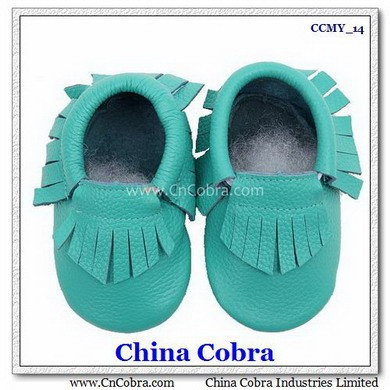 CHINA COBRA top quality soft sole leather baby moccasins shoes without the characters on them with fringe on them