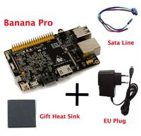 Original Banana Pro+CPU Heat Sink+Sata Cable+EU Plug Charger Beyond Banana Pi Soc Allwinner A20(sun 7i) With WIFI