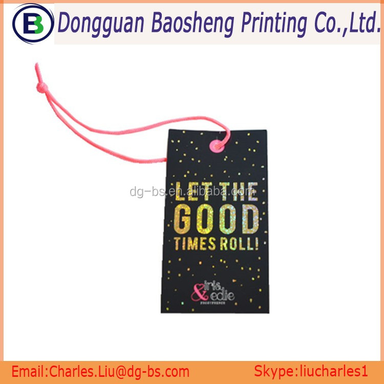 Factory Metallic printing garment Hang tag