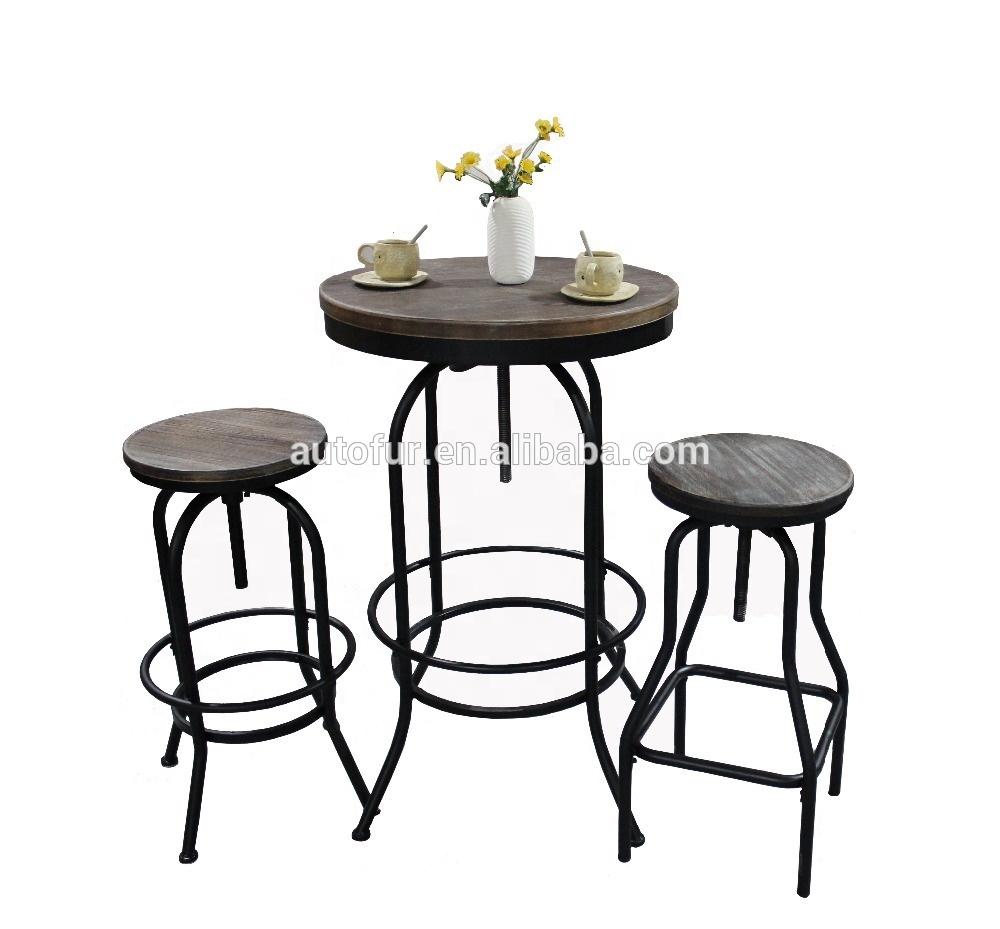 Coffee shop furniture metal frame wooden seat bar table and chair