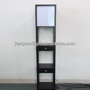 Square Bedroom Floor Lamp With Double Wood Drawers For House