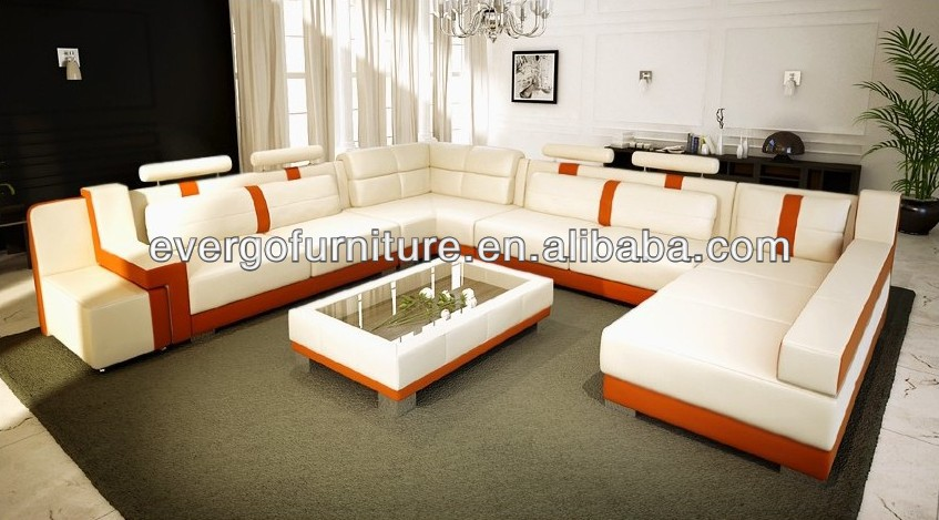 Genuine Leather Sectional Sofa Living Room Funiture White Leather ...