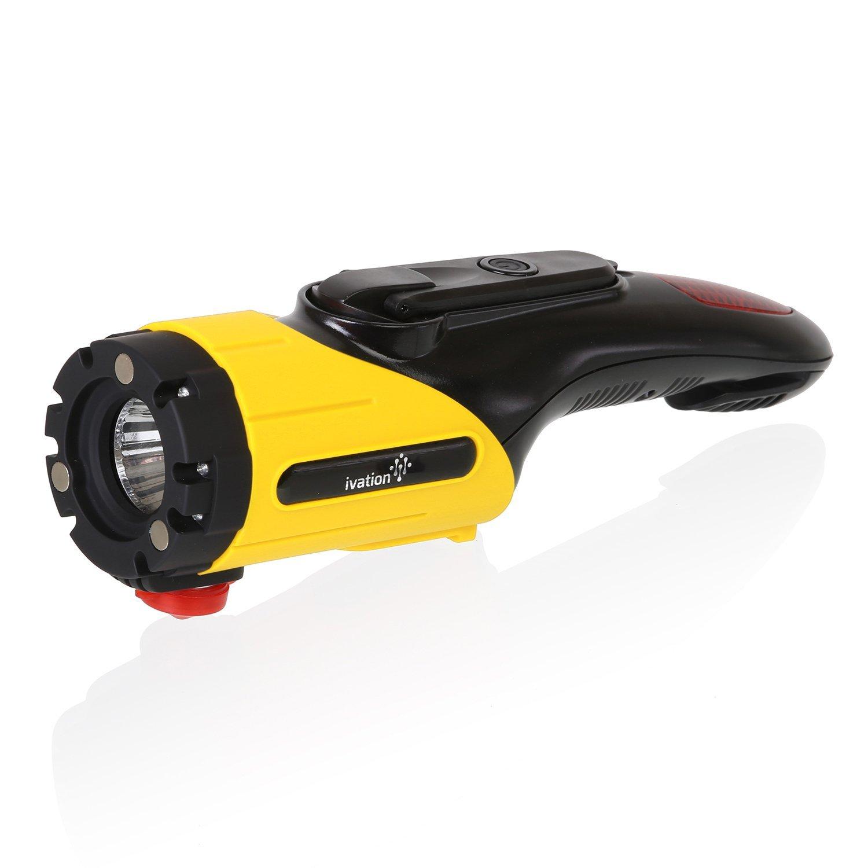 Ivation Car Emergency Escape Tool, LED Flashlight, SOS Light, Window Breaker, Seatbelt Cutter, Dynamo Mobile Charger, Rainproof, Recharge W Hand Crank