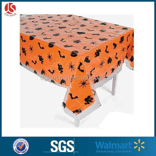 Walmart halloween designs disposable black bat plastic table cover for party