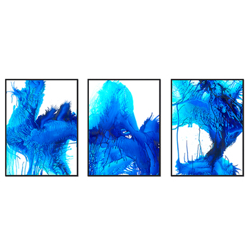 3 Panels Sapphire Blue Modern Canvas Artwork for hotel Decoration