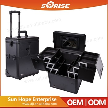 Sorise Beautiful Rolling Makeup Train Case W/ 3 Tier Extending ...
