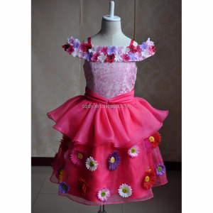2015 American princess flower girl dress tutu with sparkly diamond fancy dress costumes for kids party children frock model