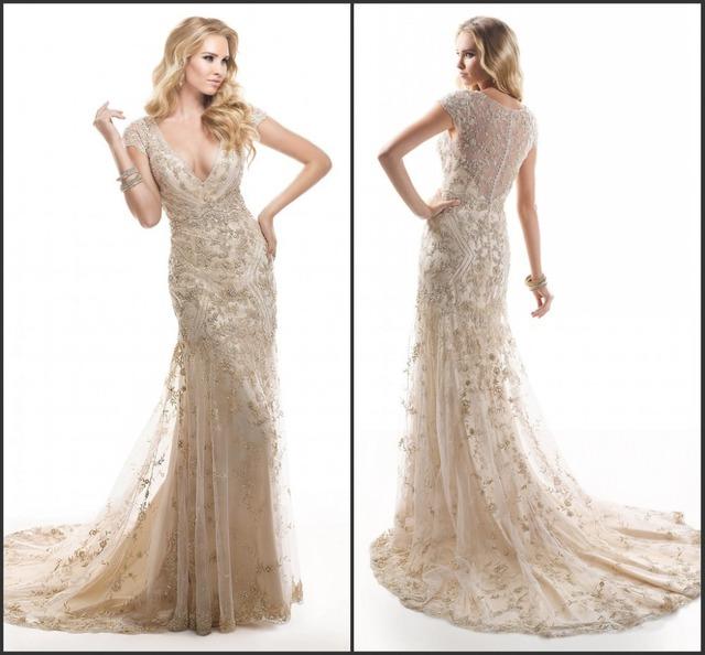 2015 comecap manches sexy robe de mari e couleur champagne dentelle dans robes de mari e de. Black Bedroom Furniture Sets. Home Design Ideas